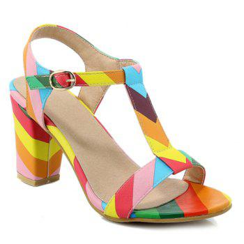Color Block T-Strap Chunky Heel Sandals