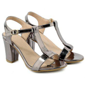 Fashion Solid Color and T-Strap Design Women's Sandals - SILVER GRAY 34