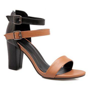 Elegant Color Block and Chunky Heel Design Women's Sandals