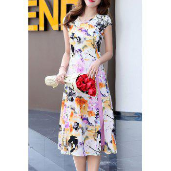 Retro Woman's Ink Painting High Slit Dress and Skirt Twinset