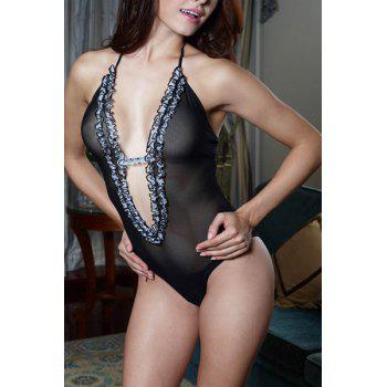 Halter douce See-Through Femmes volantée  's Lapin Teddy - Noir ONE SIZE(FIT SIZE XS TO M)