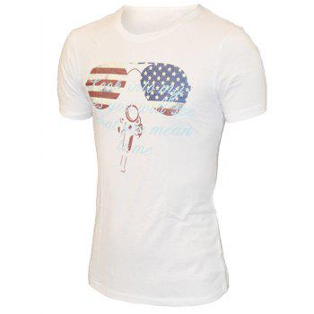 Round Neck Sunglasses and Letters Print Pattern Short Sleeve Men's T-Shirt