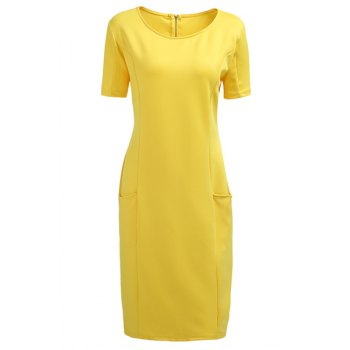 Chic Plus Size Round Collar Short Sleeve Solid Color Spliced Dress For Women