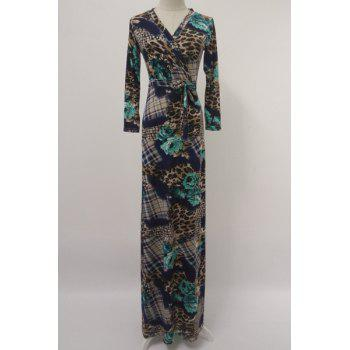 Chic Printed V-Neck Long Sleeve Maxi Dress For Women