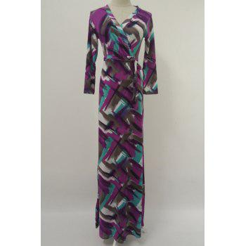 Elegant Long Sleeve Argyle Print Belted Maxi Dress For Women
