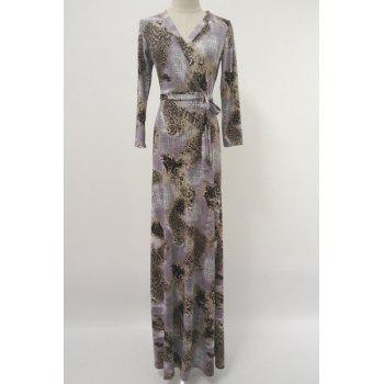 Chic V-Neck Long Sleeve Leopard Printed Belted Maxi Dress For Women