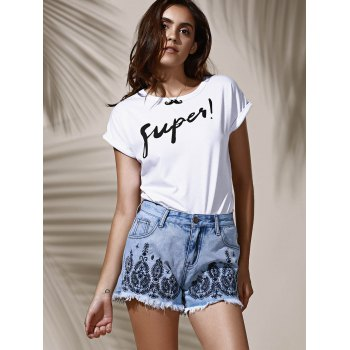 Stylish High Waist Embroidered Floral Frayed Denim Shorts For Women - LIGHT BLUE S