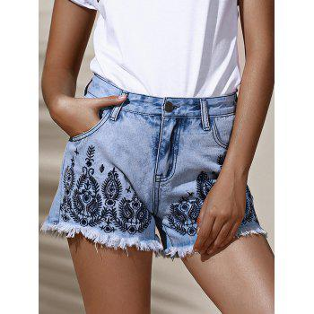Stylish High Waist Embroidered Floral Frayed Denim Shorts For Women