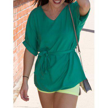 Stylish Half Sleeve V-Neck Solid Color Women's Blouse
