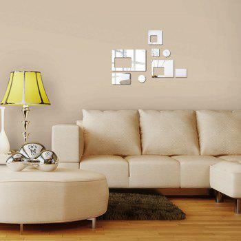 Chic DIY Geometric Shape Mirror Wall Stickers For Livingroom Bedroom Decoration - SILVER