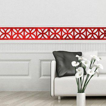 Chic Hollow Out Floral Shape Waist Line Mirror Wall Stickers For Livingroom Bedroom Decoration