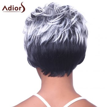Capless perruque synthétique Trendy Blanc Highlight Courts Bouclés Bang Side charme femmes - multicolorcolore
