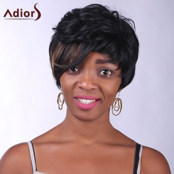 Trendy Synthetic Brown Highlight Short Curly Side Bang Charming Women's Capless Wig - COLORMIX COLORMIX