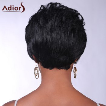 Trendy Synthetic Brown Highlight Short Curly Side Bang Charming Women's Capless Wig - COLORMIX