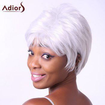 Fashion Short Side Bang Synthetic Fluffy Wavy Silvery White Elder Women's Capless Wig - SILVER WHITE