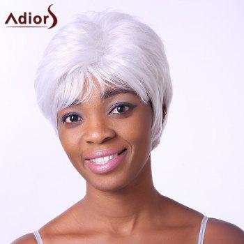 Fashion Short Side Bang Synthetic Fluffy Wavy Silvery White Elder Women's Capless Wig