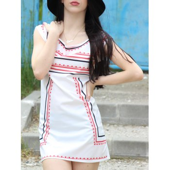 Trendy Color Block Striped Sleeveless Straight Dress For Women