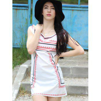 Trendy Color Block Striped Sleeveless Straight Dress For Women - WHITE XL