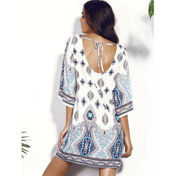 Backless Printed Chiffon Shift Dress - COLORMIX M