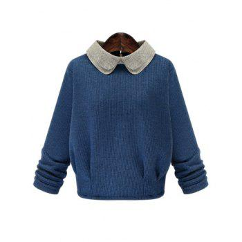Endearing Peter Pan Collar Monkey Brooch Design Pullover Sweater For Women