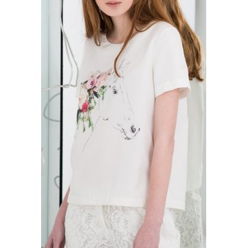 Floral and Horse Printed T-Shirt