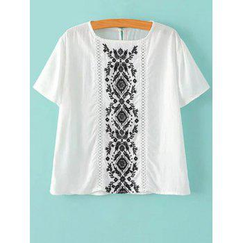 Ethnic Short Sleeve Embroidered Women's White T-Shirt