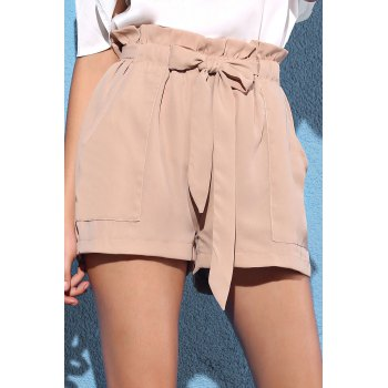 Stylish Pocket and Bowknot Design Women's Chiffon Shorts