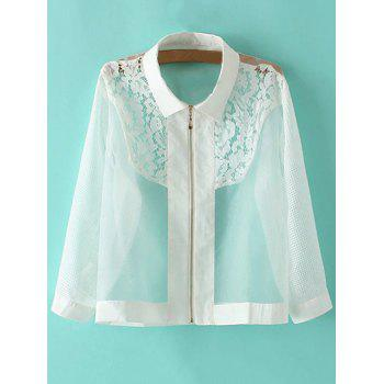 Stylish Lace Inset Sheer Organza Women's Jacket