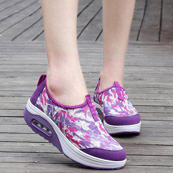Casual Color Block and Slip-On Design Women's Sneakers - PURPLE 37