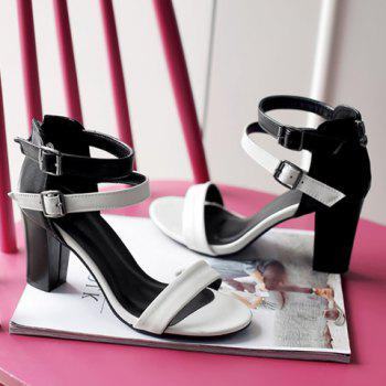 Elegant Color Block and Chunky Heel Design Women's Sandals - WHITE 37