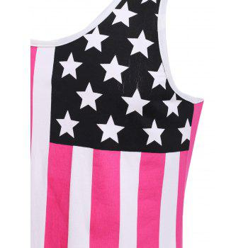 Fashion Round Neck American Flag Print Men's Hit Color Tank Top - RED L