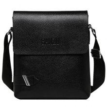 Concise PU Leather and Dark Color Design Men's Messenger Bag