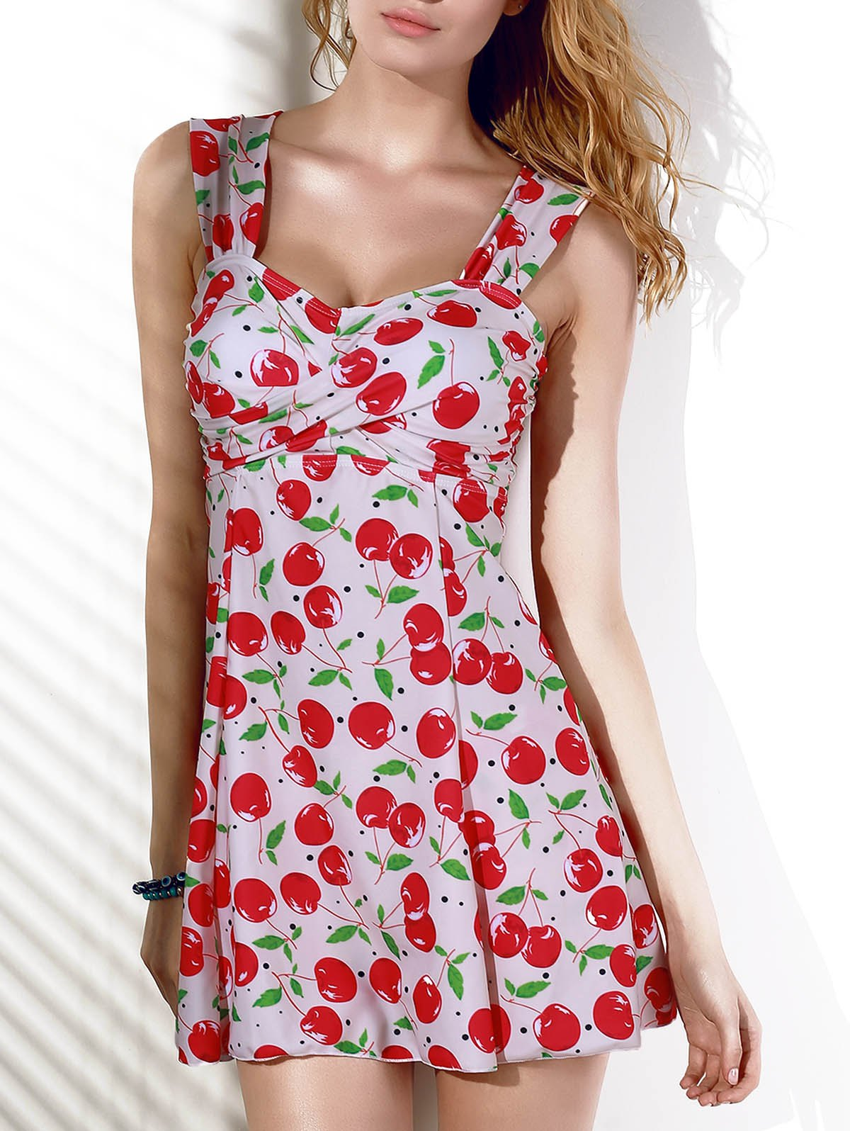 Fashionable Slimming Cherry Print Two-Piece Women's Swimsuit - RED M