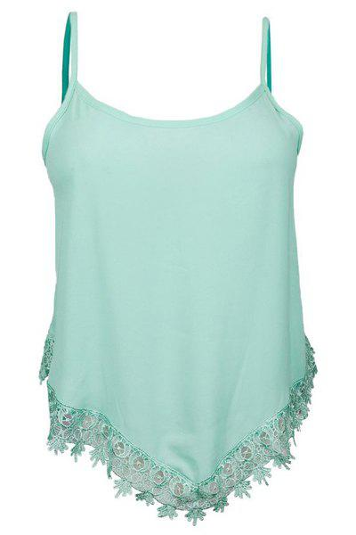 Brief Spaghetti Strap Laciness Asymmetrical Women's Tank Top - LIGHT GREEN S