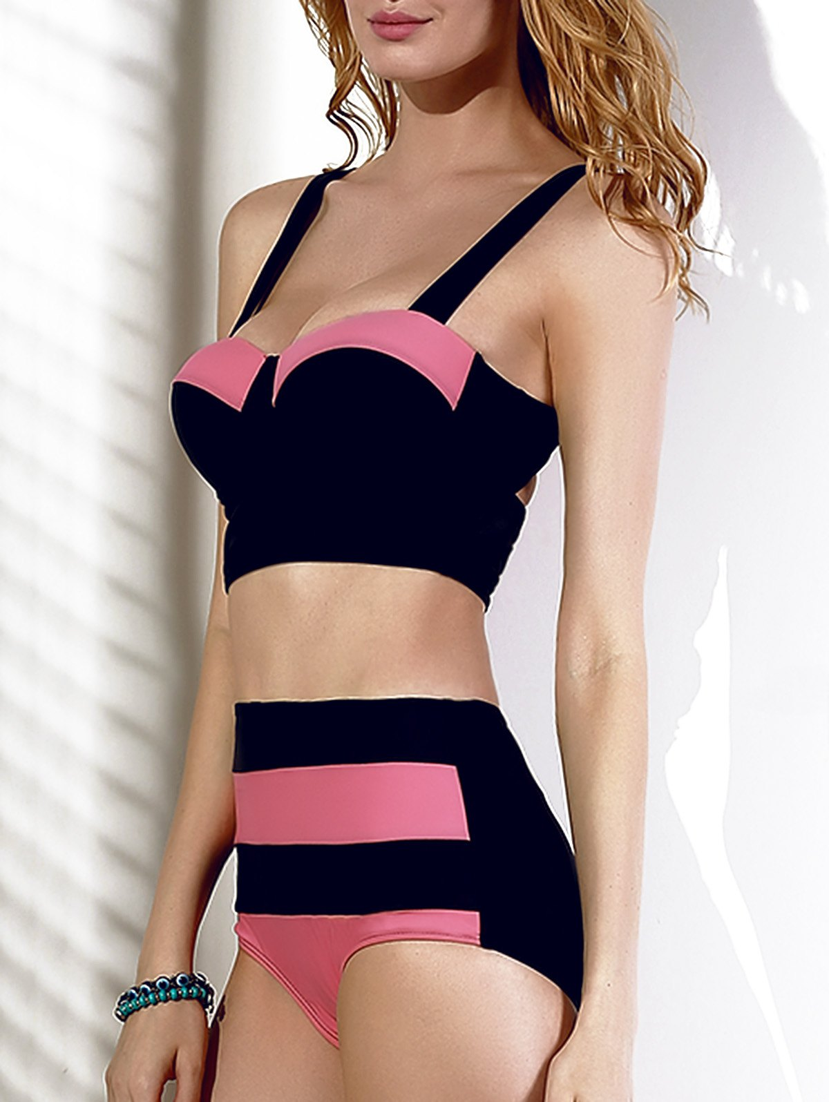 Chic High-Waisted Cut Out Color Block Spliced Women's Bikini Set