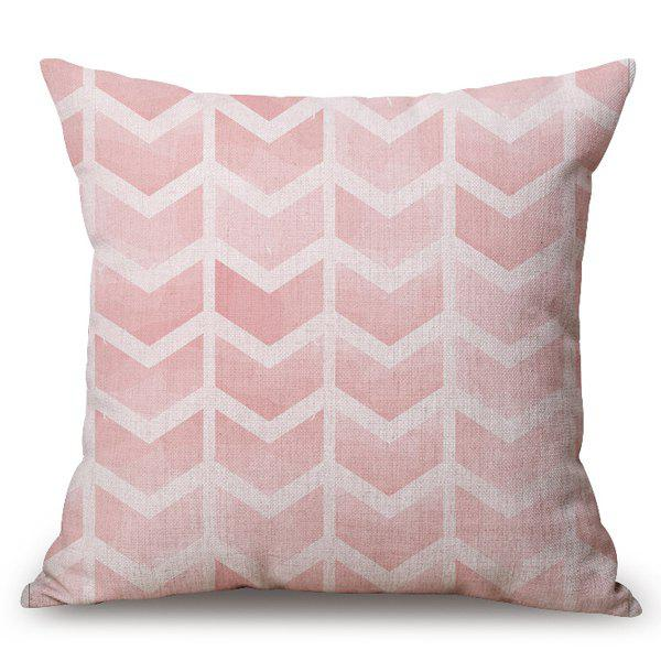 Chic Pink Arrows Pattern Square Shape Flax Pillowcase (Without Pillow Inner)