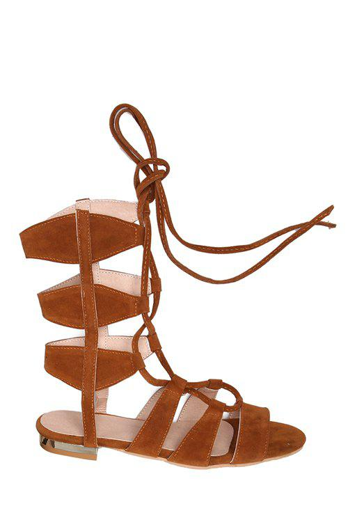 Casual Lace-Up and Solid Color Design Sandals For Women - BROWN 36