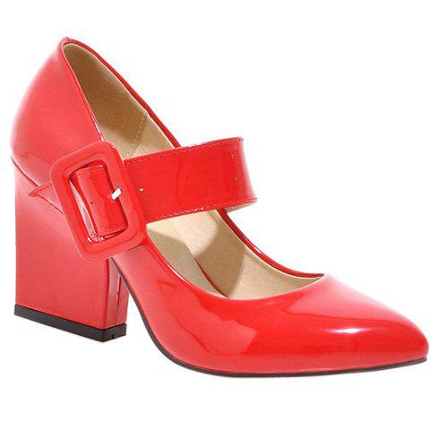 Trendy Patent Leather and Solid Colour Design Women's Pumps - RED 37