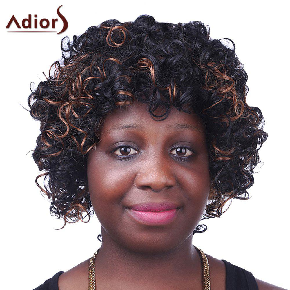 Trendy Synthetic Brown Highlight Short Afro Curly Fluffy Sparkling Women's Capless Wig - COLORMIX