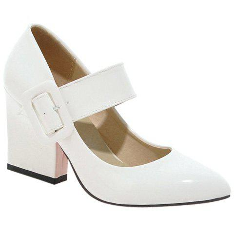 Trendy Patent Leather and Solid Colour Design Women's Pumps - WHITE 39