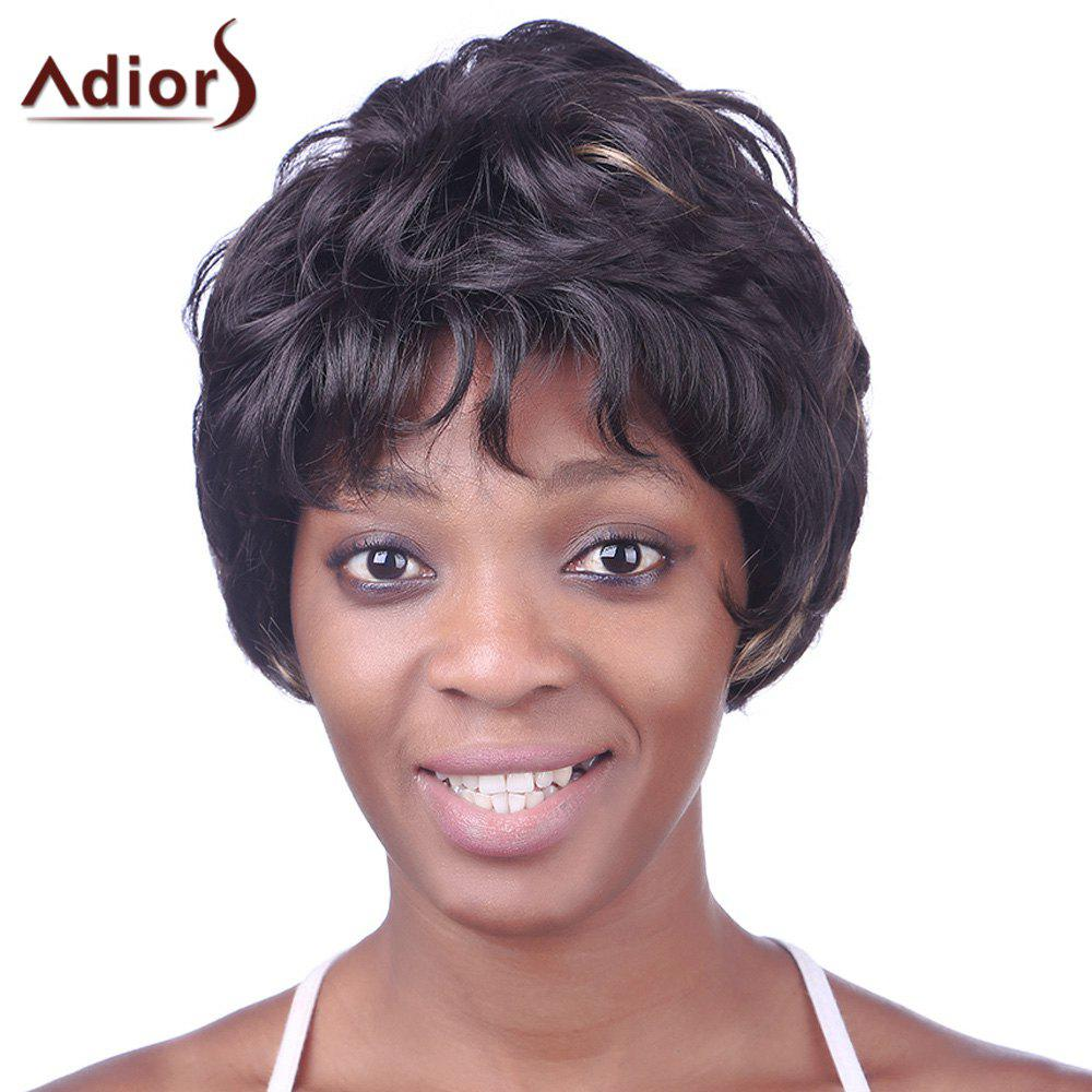Trendy Synthetic Brown Mixed Short Wavy Full Bang Fluffy Noble Women's Capless Wig