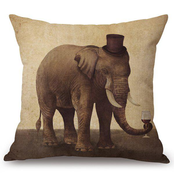 Chic Wild Elephant Pattern Square Shape Flax Pillowcase (Without Pillow Inner)