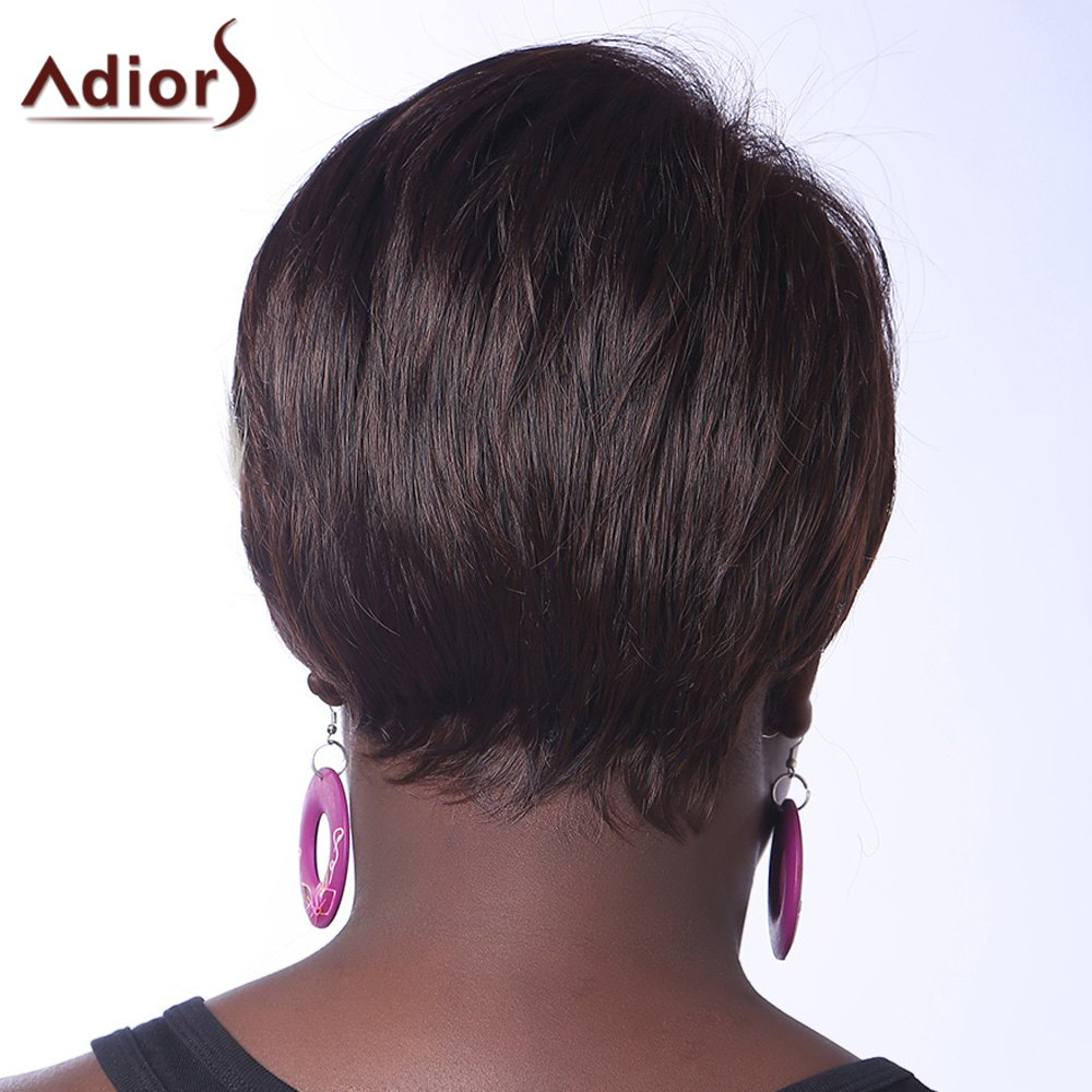 Trendy Synthetic Blonde Highlight Short Straight Side Bang Elegant Women's Capless Wig - COLORMIX