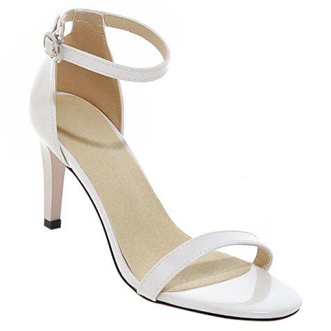 Stylish Stiletto Heel and Ankle Strap Design Women's Sandals - WHITE 37