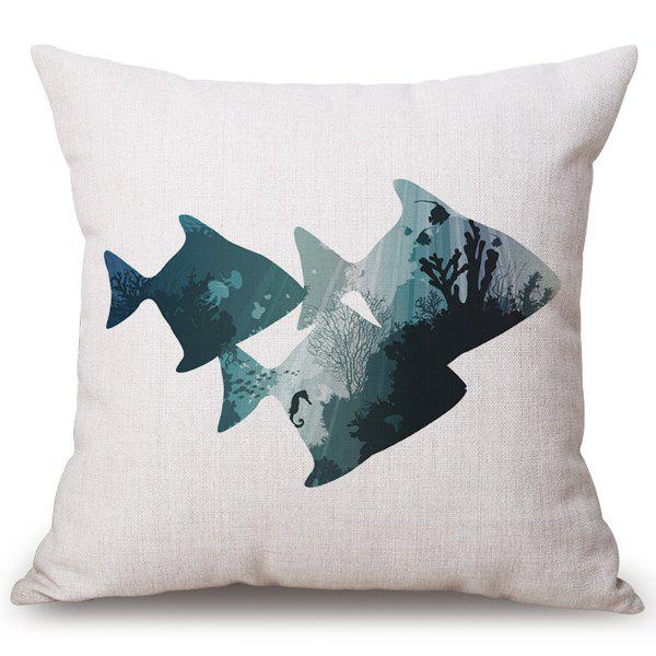 Chic Seabed Landscape Fish Pattern Square Shape Flax Pillowcase (Without Pillow Inner) - COLORMIX