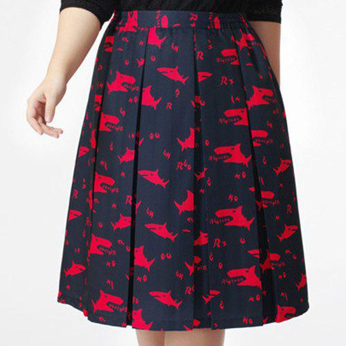 Graceful Plus Size Mid Waist Stretchy Print Pleated Skirt For Women