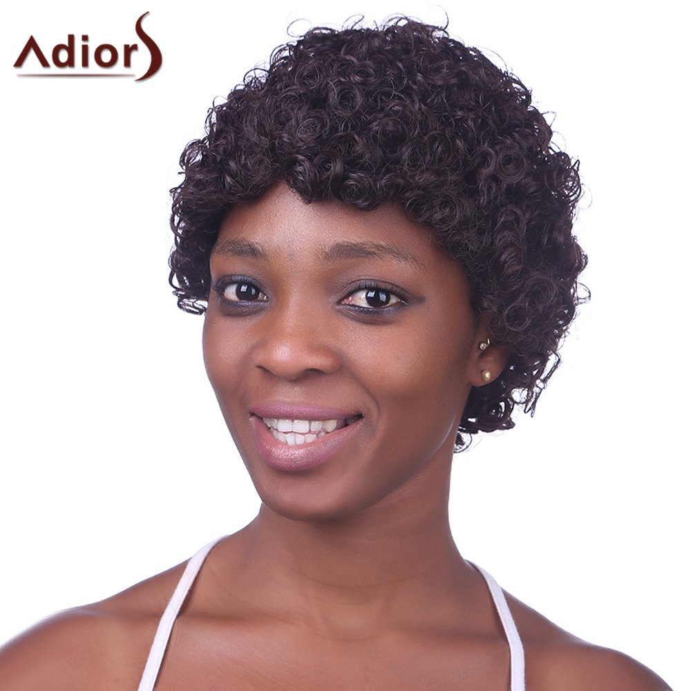 Capless perruque synthétique Brown Trendy ultracourtes Kinky Curly Fluffy charme femmes noires - / Rouge Mélangé Noir