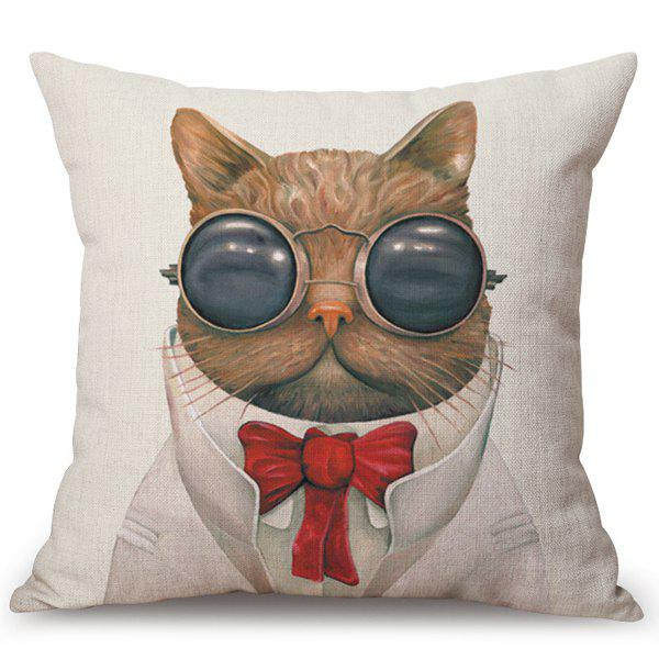 Chic Sunglass Kitten Pattern Square Shape Flax Pillowcase (Without Pillow Inner) - COLORMIX