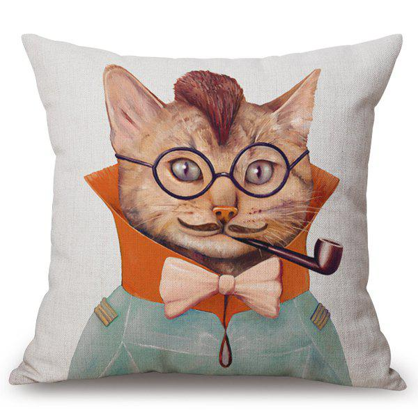 Chic Mustache Kitten Pattern Square Shape Flax Pillowcase (Without Pillow Inner) - COLORMIX