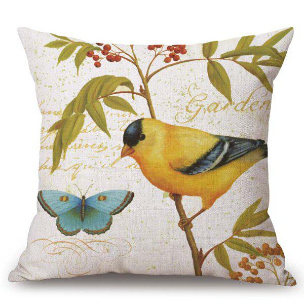 Chic Rural Flower Bird Pattern Square Shape Flax Pillowcase (Without Pillow Inner)